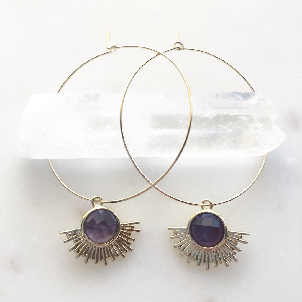 Solar Radiance~Amethyst Hoops (45mm diameter)