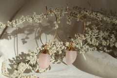 Rose Quartz Hoop Earrings~ Divine Love