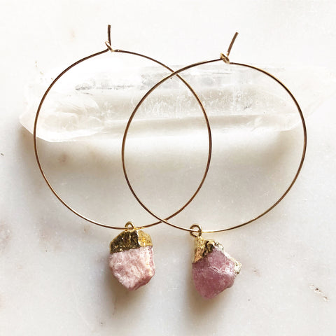 Raw Pink Opal on 14k gold filled Hoops