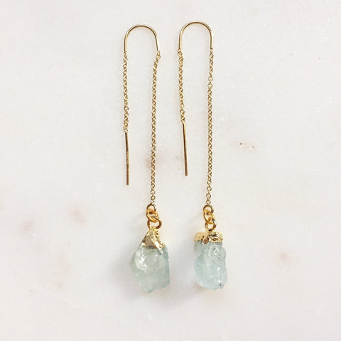 Aquamarine Threader Earrings