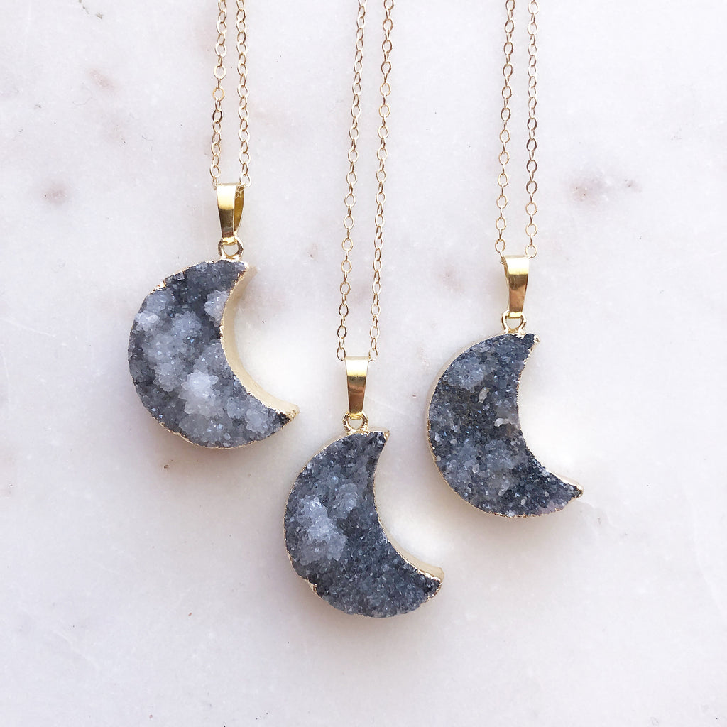 Sparkly Agate~ Crescent Moon Necklace