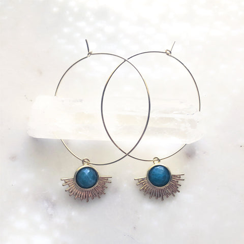 Blue Apatite~Solar Radiance Hoops