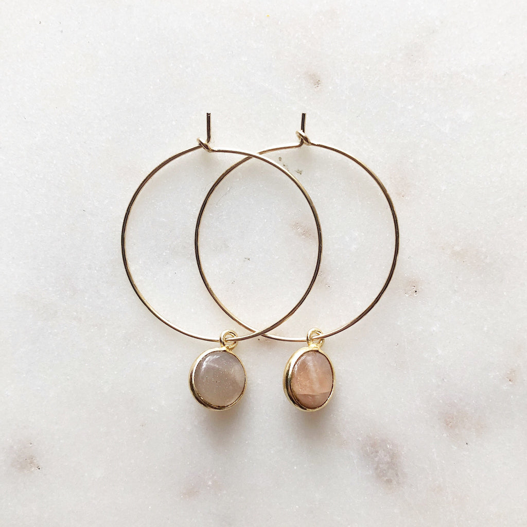 Magic Moonstone Hoops