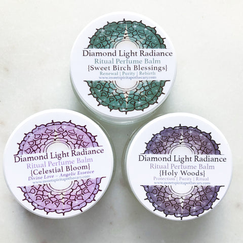 Diamond Light Radiance~ Ritual Perfume Balms~ holy trinity!