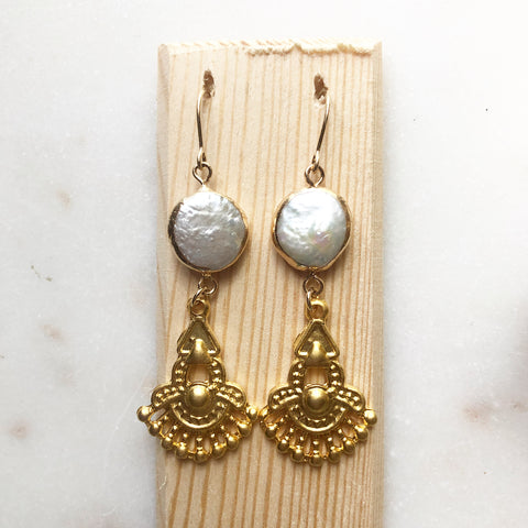 Ornate Pearl~Earrings
