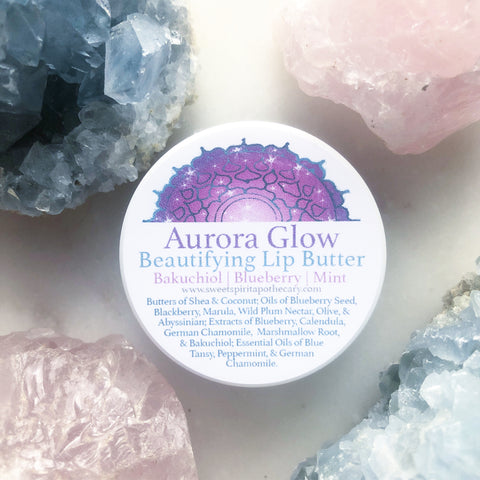 Aurora Glow~Beautifying Lip Butter~ with blueberry, mint and Bakuchiol (non irritating plant derived retinol alternative)