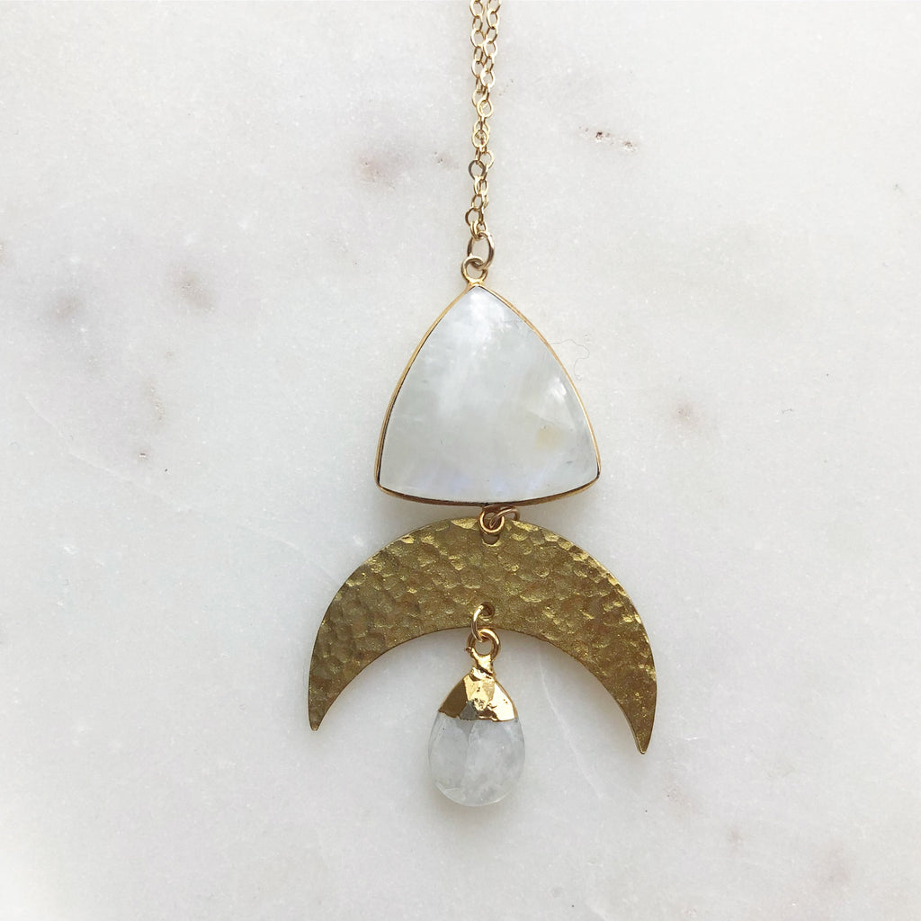 Crescent Moonstone Necklace