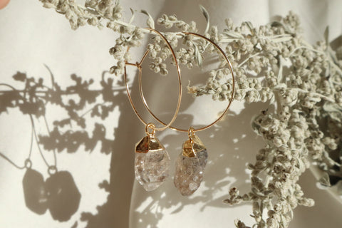 Herkimer Diamond Hoops~ NEW LARGER stone!