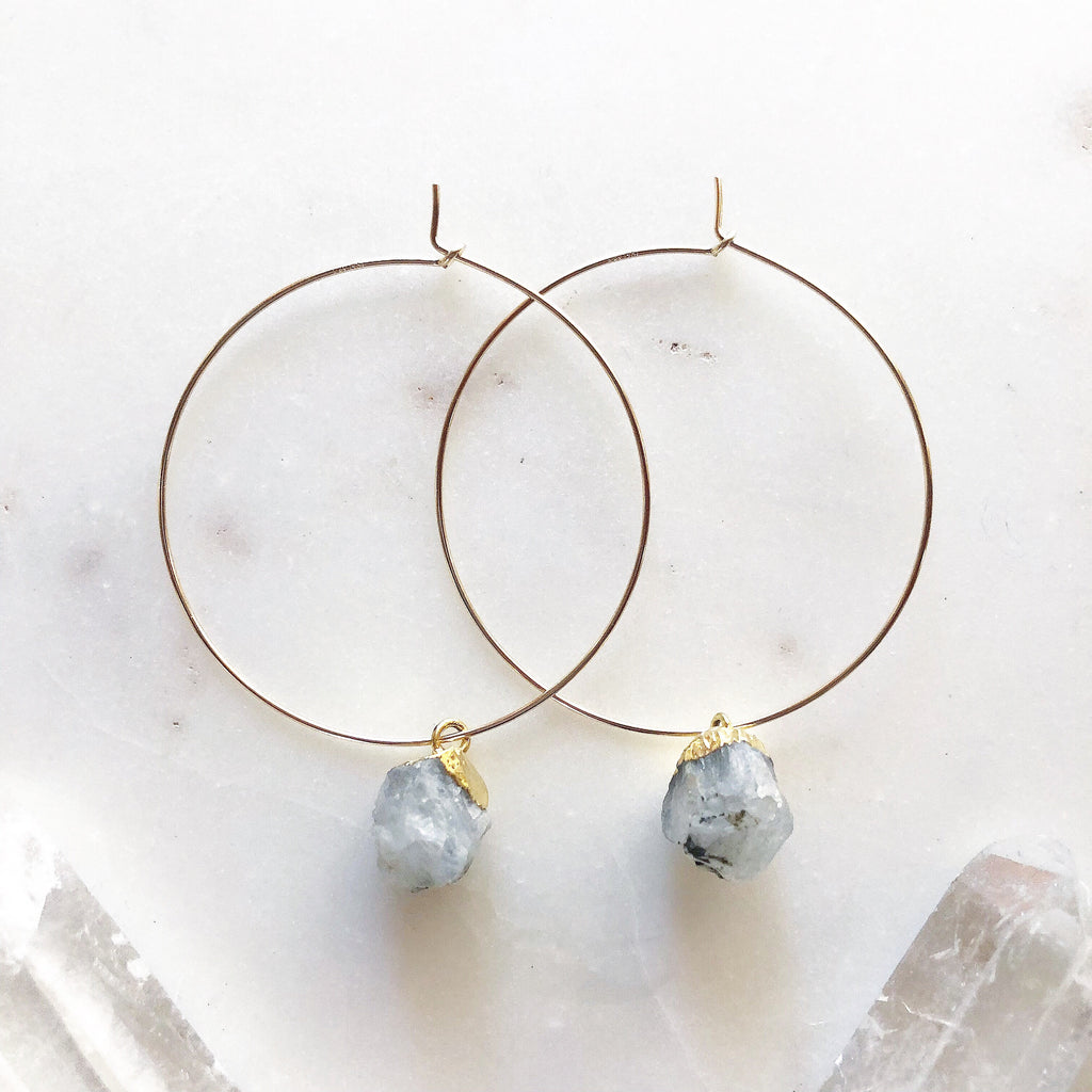 Raw Rainbow Moonstone Hoops