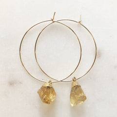 Raw Citrine on Gold Hoops