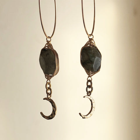 Labradorite and Hammered Moon Hoops