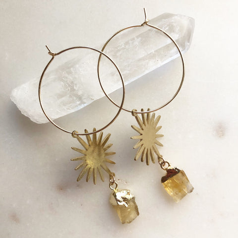 Sun and Citrine Hoops