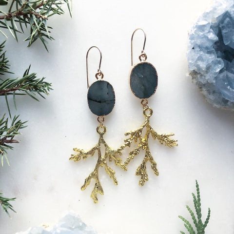Labradorite and Sacred Cedar Earrings