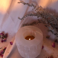 Selenite~Candle~ tealight Holder~ purification, divine wisdom, and serenity