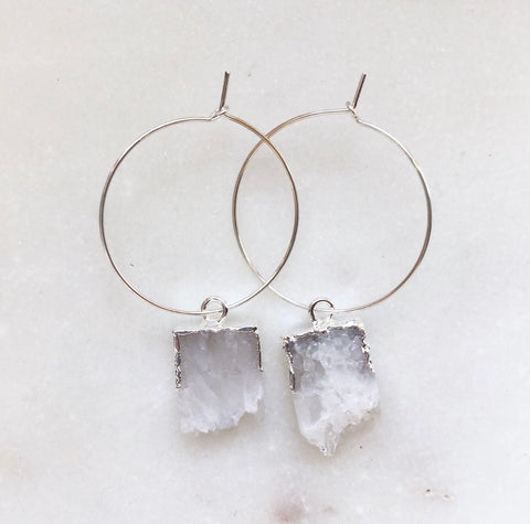 Sterling Silver Hoops with Agate crystal