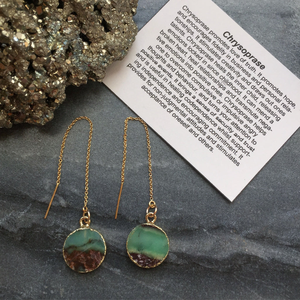 Chrysoprase Drop- 14k Gold Filled Threader Earrings