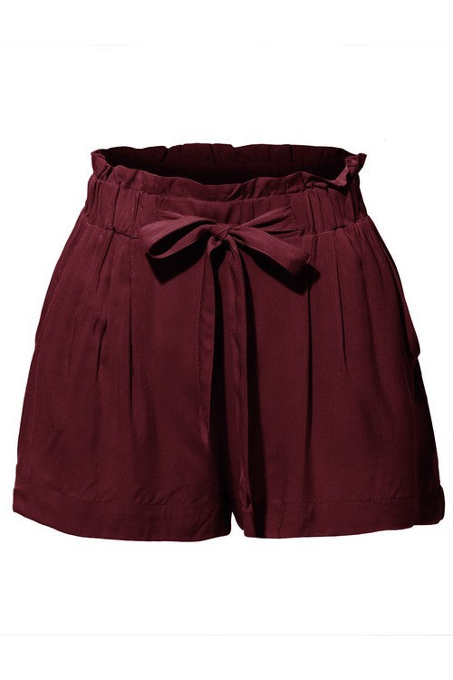 Smocked Belted High Waisted Shorts - Spoiled Me Rotten Boutique