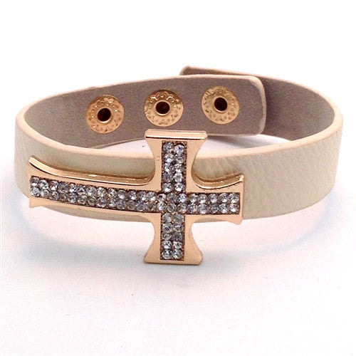 CRYSTAL CROSS LEATHER BRACELET - Spoiled Me Rotten Boutique