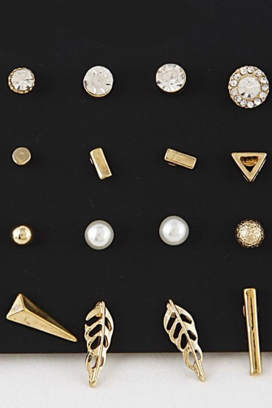 Mixed Gold Stud Earrings - Spoiled Me Rotten Boutique