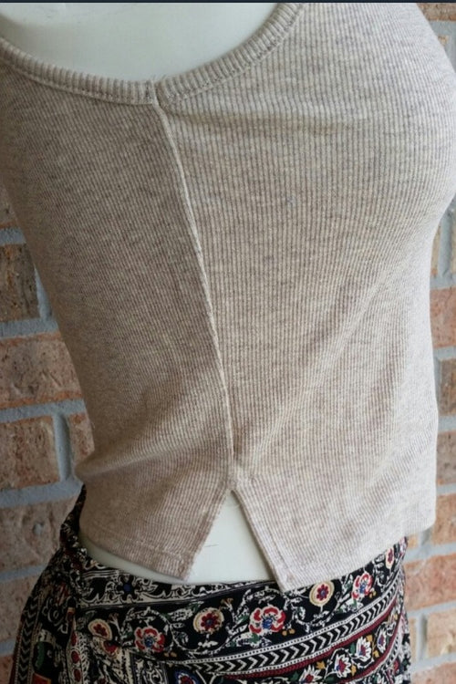 Ribbed Sleeveless Mock Cropped Top - Spoiled Me Rotten Boutique