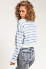 Blue Striped Cropped Sweater - Spoiled Me Rotten Boutique