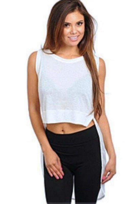 Long Sheered Back Crop Top - Spoiled Me Rotten Boutique