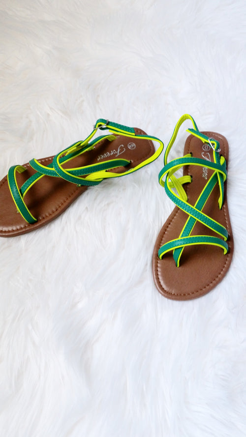 GREEN CONTRAST STRAPPY SANDALS - Spoiled Me Rotten Boutique
