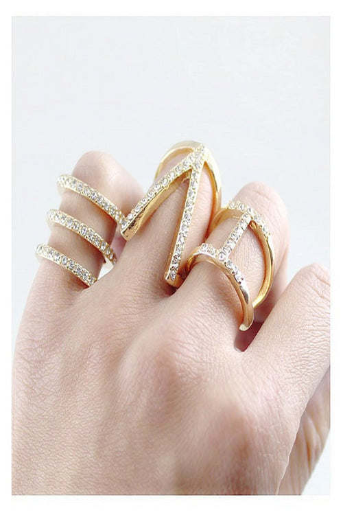 Rhinestone Cutout Ring Set - Spoiled Me Rotten Boutique