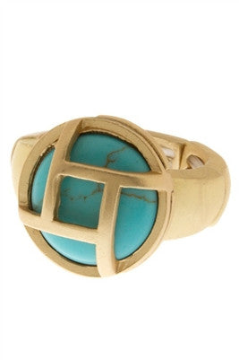 Stone Wire Metal Edged Ring - Spoiled Me Rotten Boutique