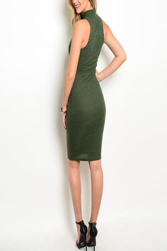 Olive Sleeveless Dress - Spoiled Me Rotten Boutique