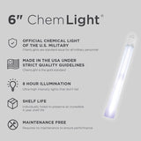 8 Hour WHITE 6 Inch Military Grade Cyalume Chemlight