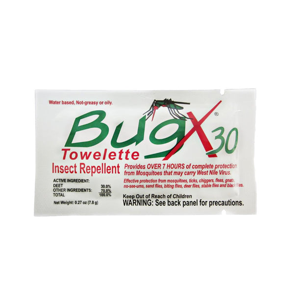 Bug X 30 Insect Repellent Towelettes – with 30% DEET
