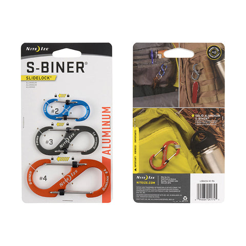 S-BINER® SLIDELOCK® ALUMINUM Combo 3-Pack Assorted