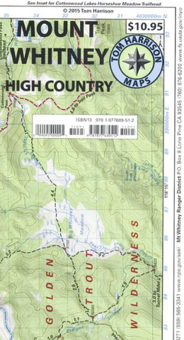 Mt Whitney High Country Tom Harrison Map