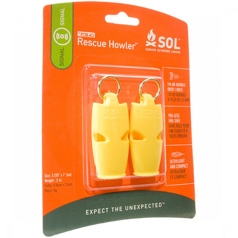 SOL Rescue Howler Whistle, 2/Pack