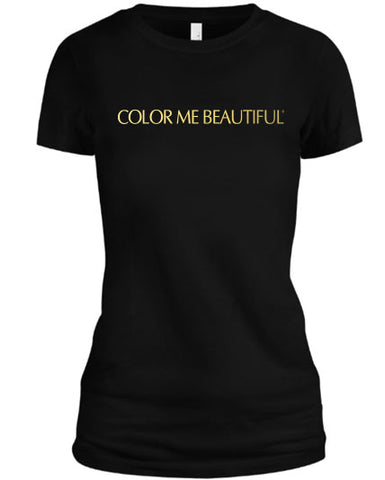 Color Me Beautiful Name Logo Black Shirt Gold Foil