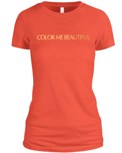 Color Me Beautiful Name Logo Coral Shirt Gold Foil