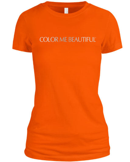 Color Me Beautiful Name Logo Orange Shirt Silver Foil