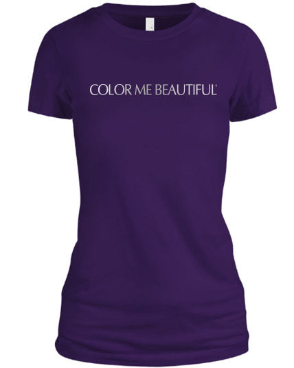 Color Me Beautiful Name Logo Purple Shirt Silver Foil
