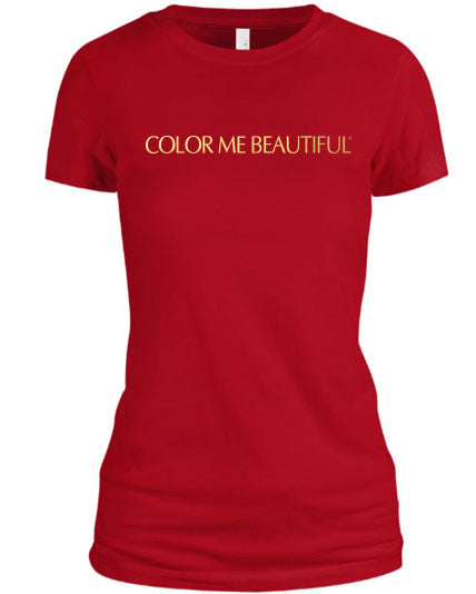 Color Me Beautiful Name Logo Red Shirt Gold Foil