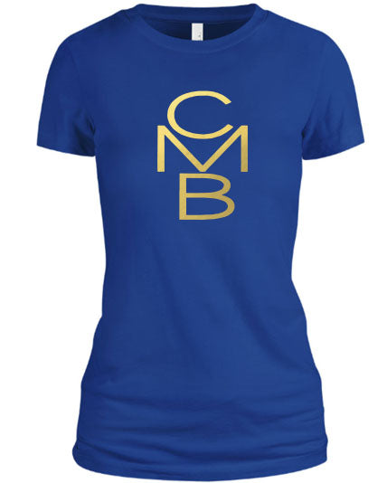 Color Me Beautiful CMB Logo Royal Blue Shirt Gold Foil