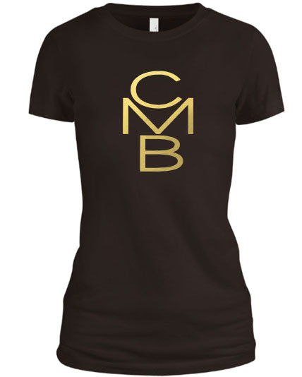 Color Me Beautiful CMB Logo Brown Shirt Gold Foil