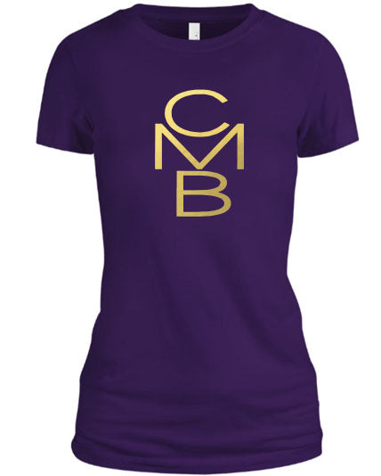 Color Me Beautiful CMB Logo Purple Shirt Gold Foil