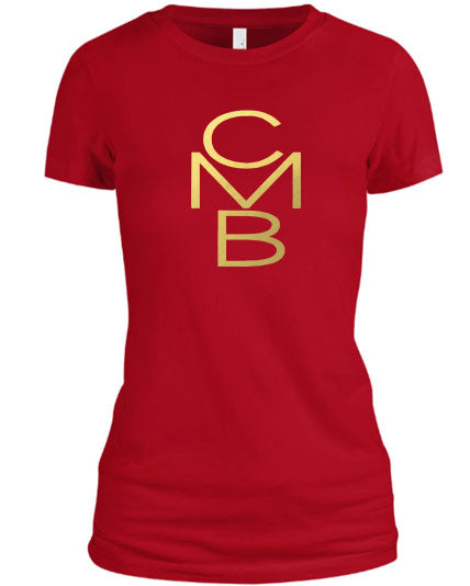 Color Me Beautiful CMB Logo Red Shirt Gold Foil