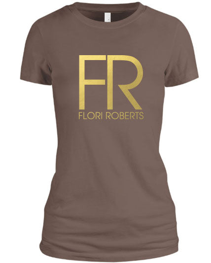 Flori Roberts FR Logo Brown Shirt Gold Foil