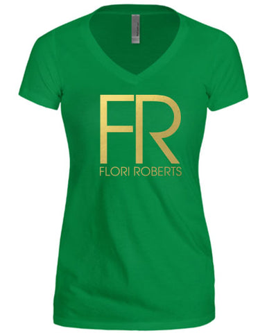Flori Roberts FR Logo Kelly Green V Neck Shirt Gold Foil