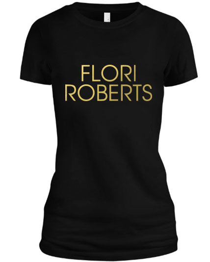Flori Roberts Name Logo Black Shirt Gold Foil