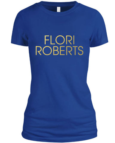 Flori Roberts Name Logo Blue Shirt Gold Foil