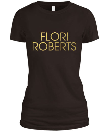 Flori Roberts Name Logo Brown Shirt Gold Foil