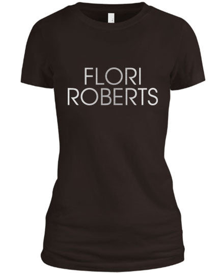 Flori Roberts Name Logo Brown Shirt Silver Foil